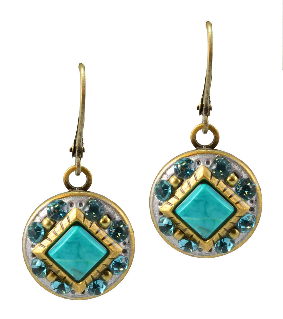 Michal Golan Nile Gold Plated Small Round Drop Earrings in Teal Mineral and Blue and Green Beads and Crystal