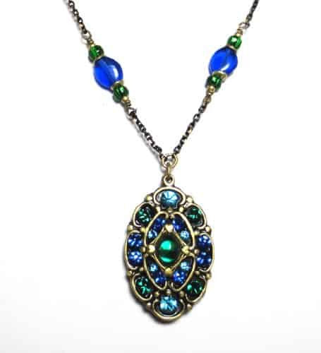 Michal Golan Peacock Beaded Small Oval Necklace on Black and Gold Chain