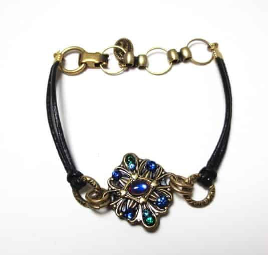 Michal Golan Peacock Collection Gold Plated Diamond Bracelet on Black Leather Cord