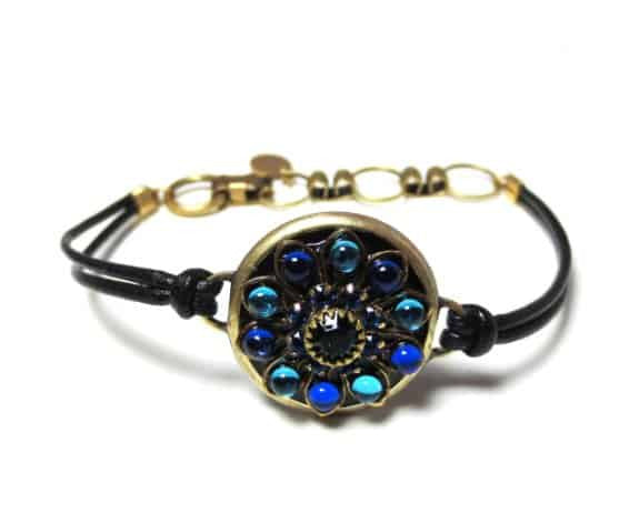 Michal Golan Peacock Collection Gold Plated Round Bracelet on Black Leather Cord