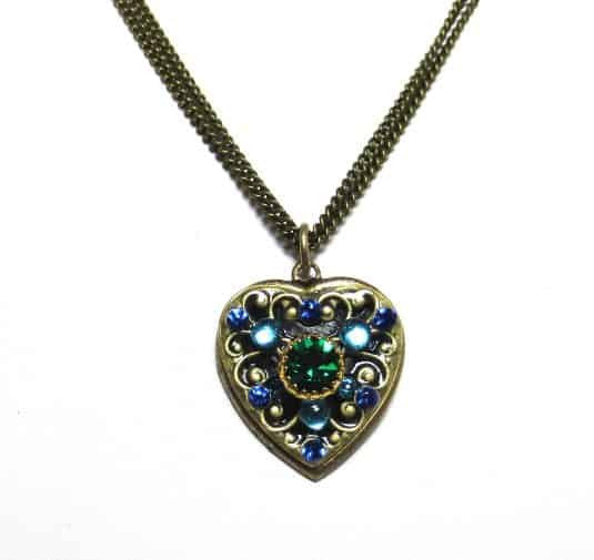 Michal Golan Peacock Small Heart Necklace in Green and Blue Swarovski Crystals