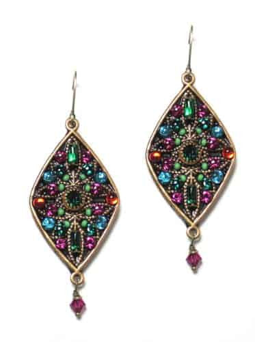 Michal Golan Prismatic Collection Beaded Wide Diamond Dangle Earrings