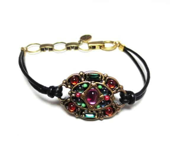 Michal Golan Prismatic Collection Gold Plated Oval Bracelet on Black Leather Cord