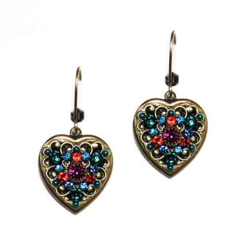 Michal Golan Prismatic Collection Small Heart Earrings in Green and Red Swarovski Crystals