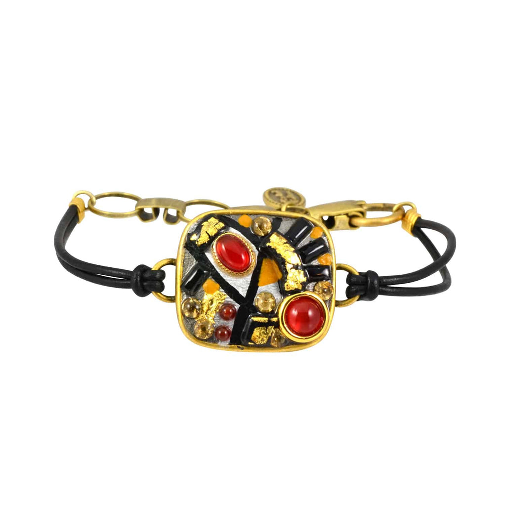 Michal Golan Rectangle Bracelet, Gold Plated on Black Leather Cord