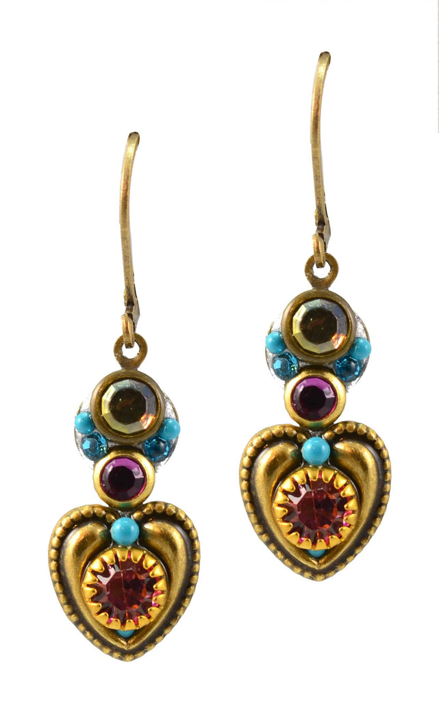 Michal Golan Rose Gold Plated Tiny Heart Dangle Earrings in Fuchsia, Aqua and Light Purple Swarovski Crystals