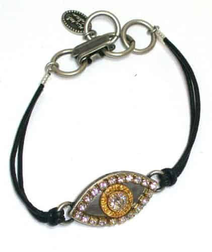Michal Golan Silver and Gold Plated Evil Eye Bracelet with Clear Crystal With Black Leather