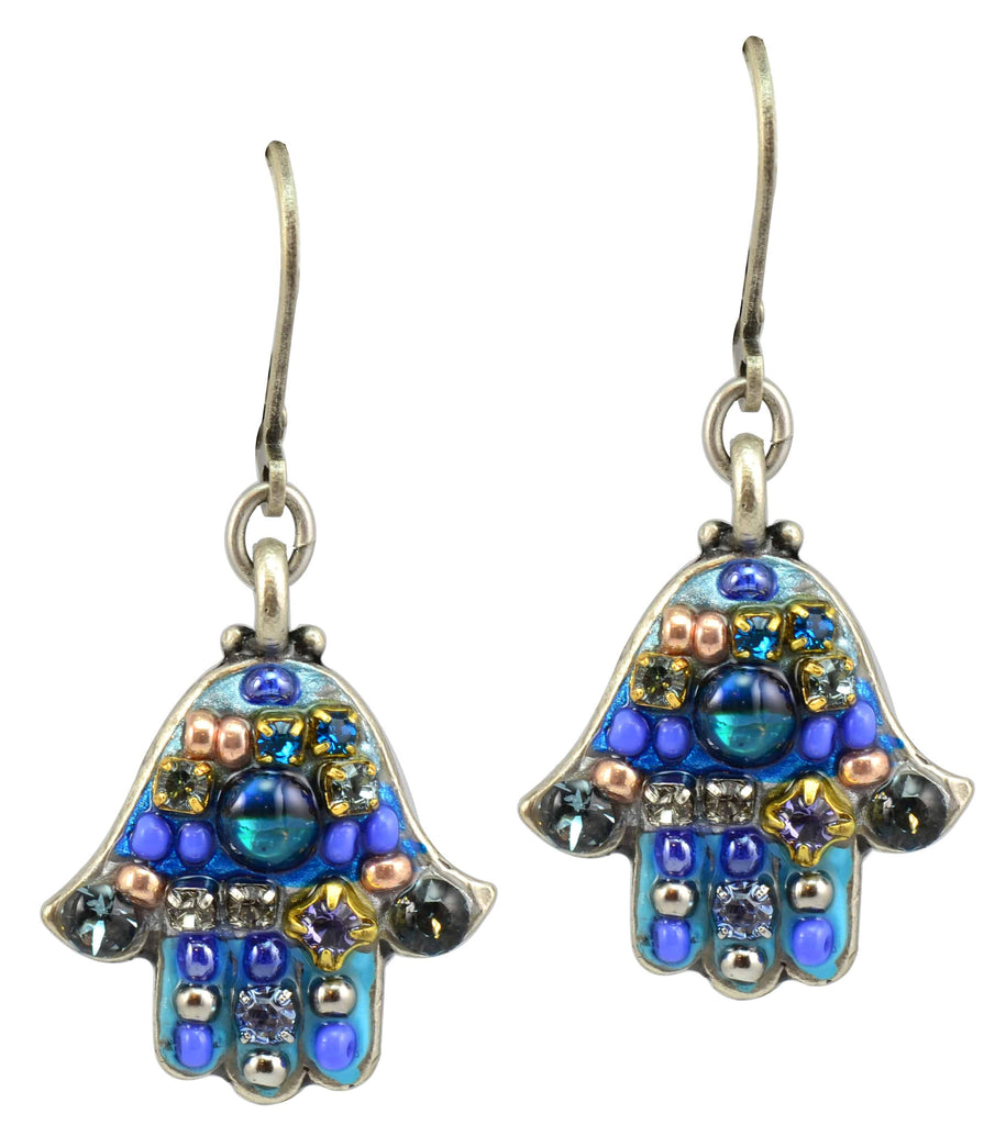 Michal Golan Silver Plated Hamsa Hand Dangle Earrings in Air Blue Opaque and Light Blue Swarovski Crystals