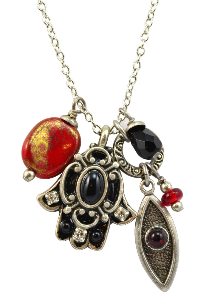 Michal Golan Silver Plated Hamsa Hand And Evil Eye Cluster Pendant Necklace