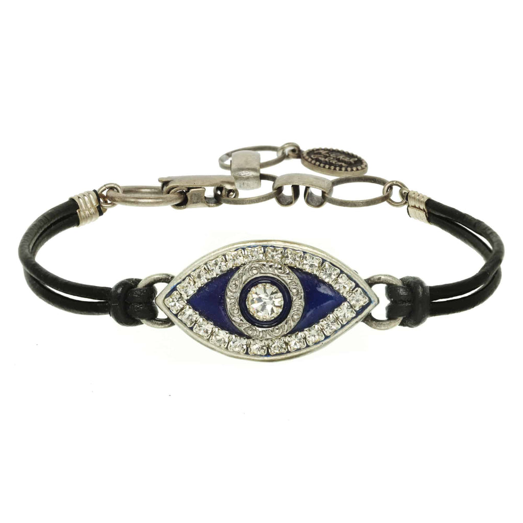 Michal Golan Silver Plated Large Navy Evil Eye Bracelet on Black Leather Cord