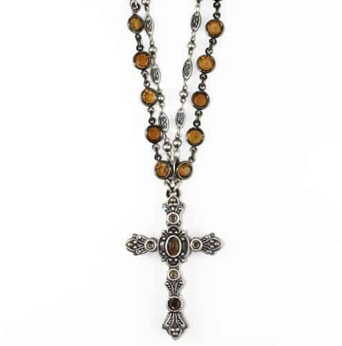 Michal Golan Silver Plated Large Tigers Eye Cross Pendant with Beaded Necklace