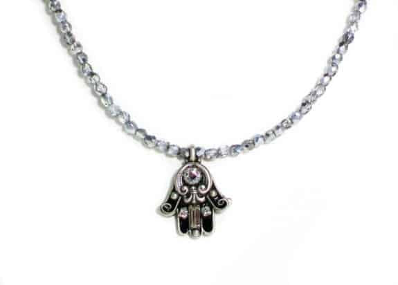 Michal Golan Silver Plated Small Black Enamel Hamsa Hand Pendant with Beaded Necklace