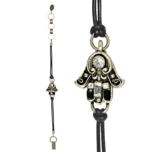 Michal Golan Silver Plated Small Hamsa Hand Bracelet with Black Enamel on Black Leather Cord