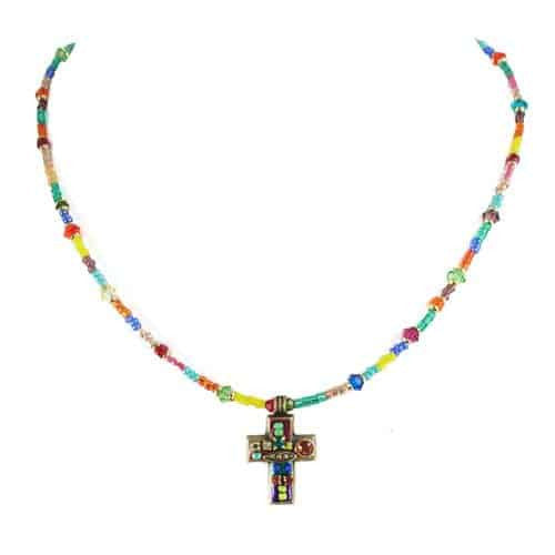 Michal Golan Small Multibright Cross Beaded Necklace