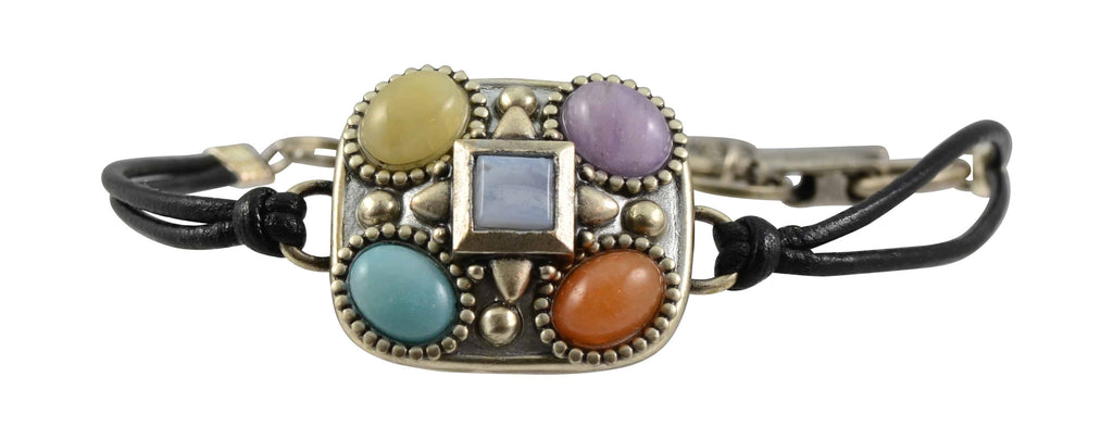 Michal Golan Tranquility Square Bracelet, Silver Plated on Black Leather Cord