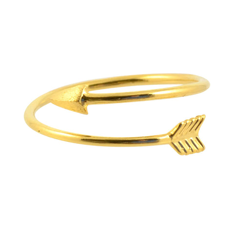 Zenzii Greek Keys Ring, Goldtone Size 7