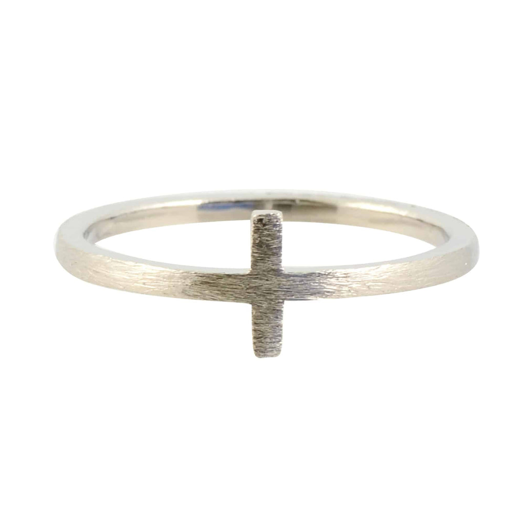 Modern Opus Cross Ring, Silver Plated Size 7