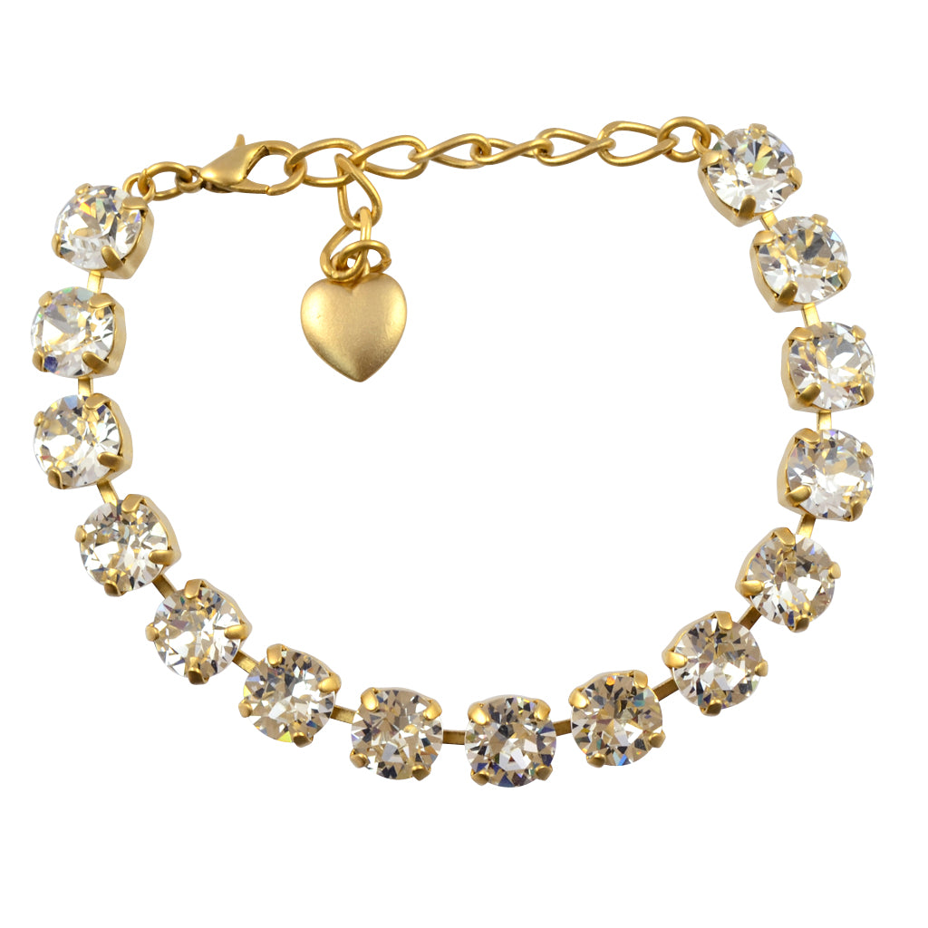 Nara Round Crystal Bracelet, Gold Plated with Clear Crystal