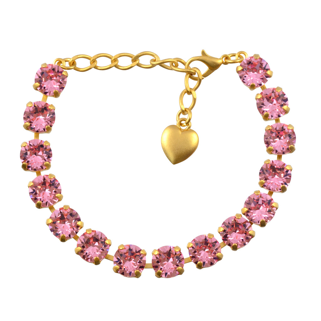 Nara Round Crystal Bracelet, Gold Plated with Pink Crystal
