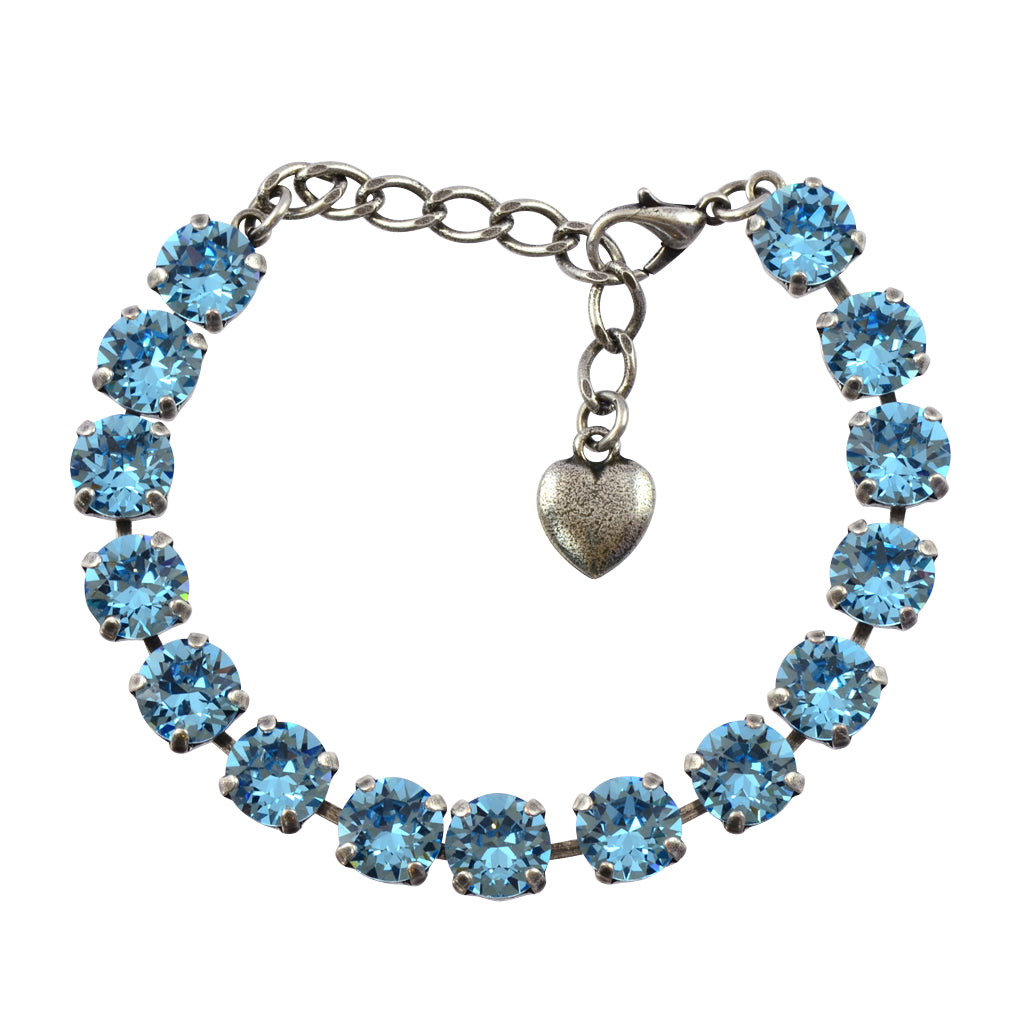 Nara Round Crystal Bracelet, Silver Plated with Blue Crystal