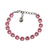 Nara Round Crystal Bracelet, Silver Plated with Pink Crystal