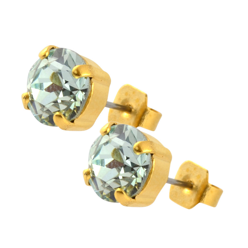 Nara Round Crystal Stud Earrings, Gold Plated Post with Elegant Light Azore Swarovski Circle
