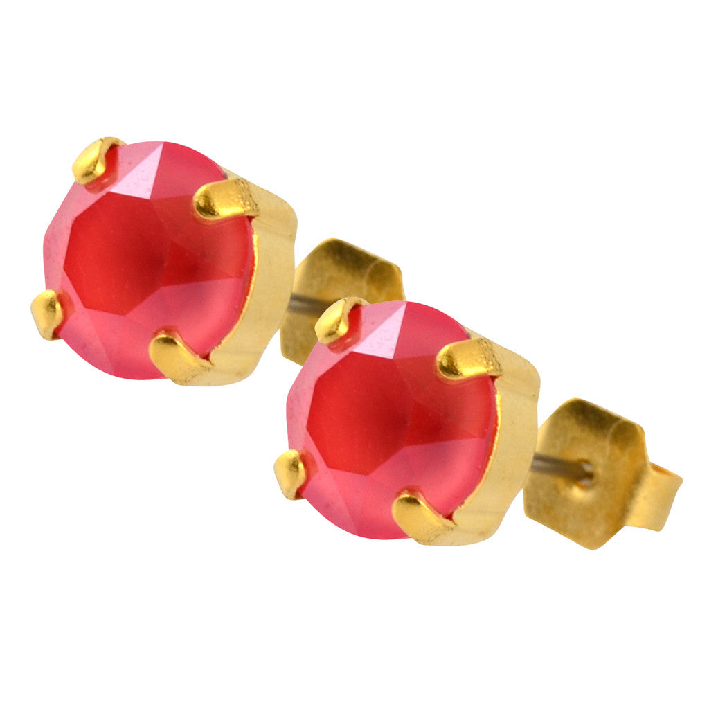 Nara Round Crystal Stud Earrings, Gold Plated Post with Elegant Soft Red Swarovski Circle