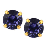 Nara Round Crystal Stud Earrings, Gold Plated Post with Elegant Blue Purple Swarovski Circle