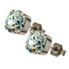 Nara Round Crystal Stud Earrings, Silver Plated Post with Elegant Light Azore Swarovski Circle