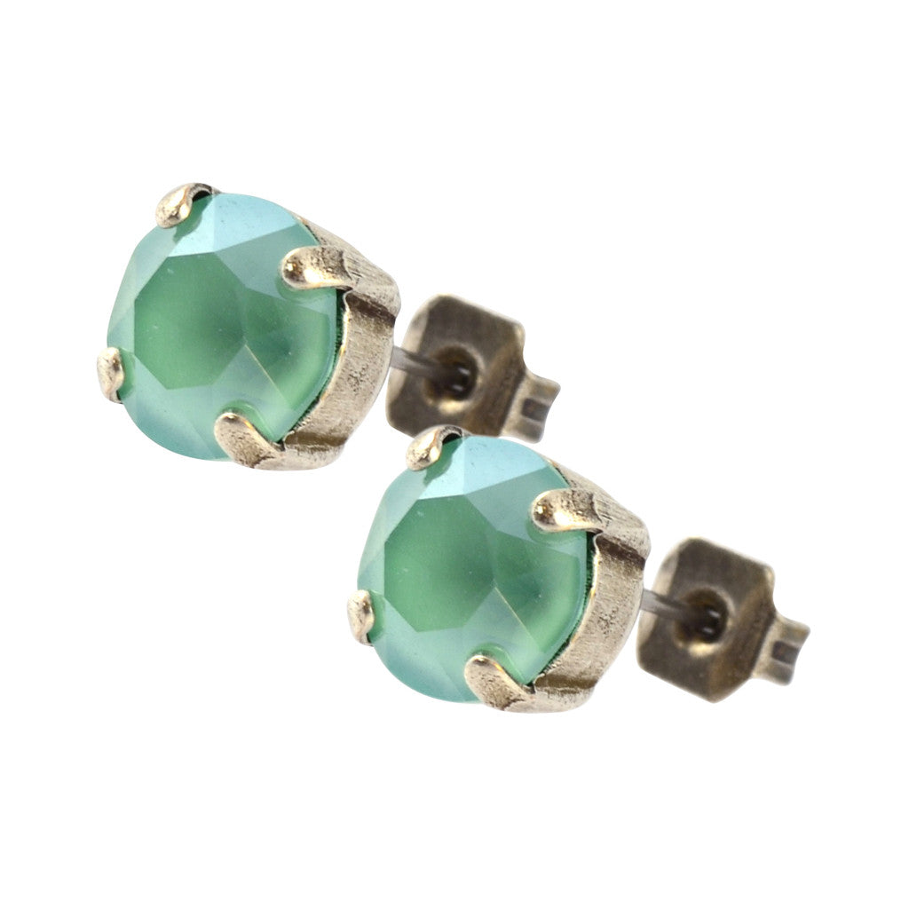 Nara Round Crystal Stud Earrings, Silver Plated Post with Elegant Mint Green Swarovski Circle