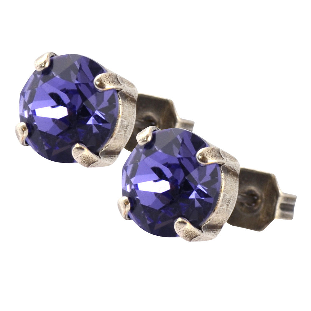 Nara Round Crystal Stud Earrings, Silver Plated Post with Elegant Blue Purple Swarovski Circle