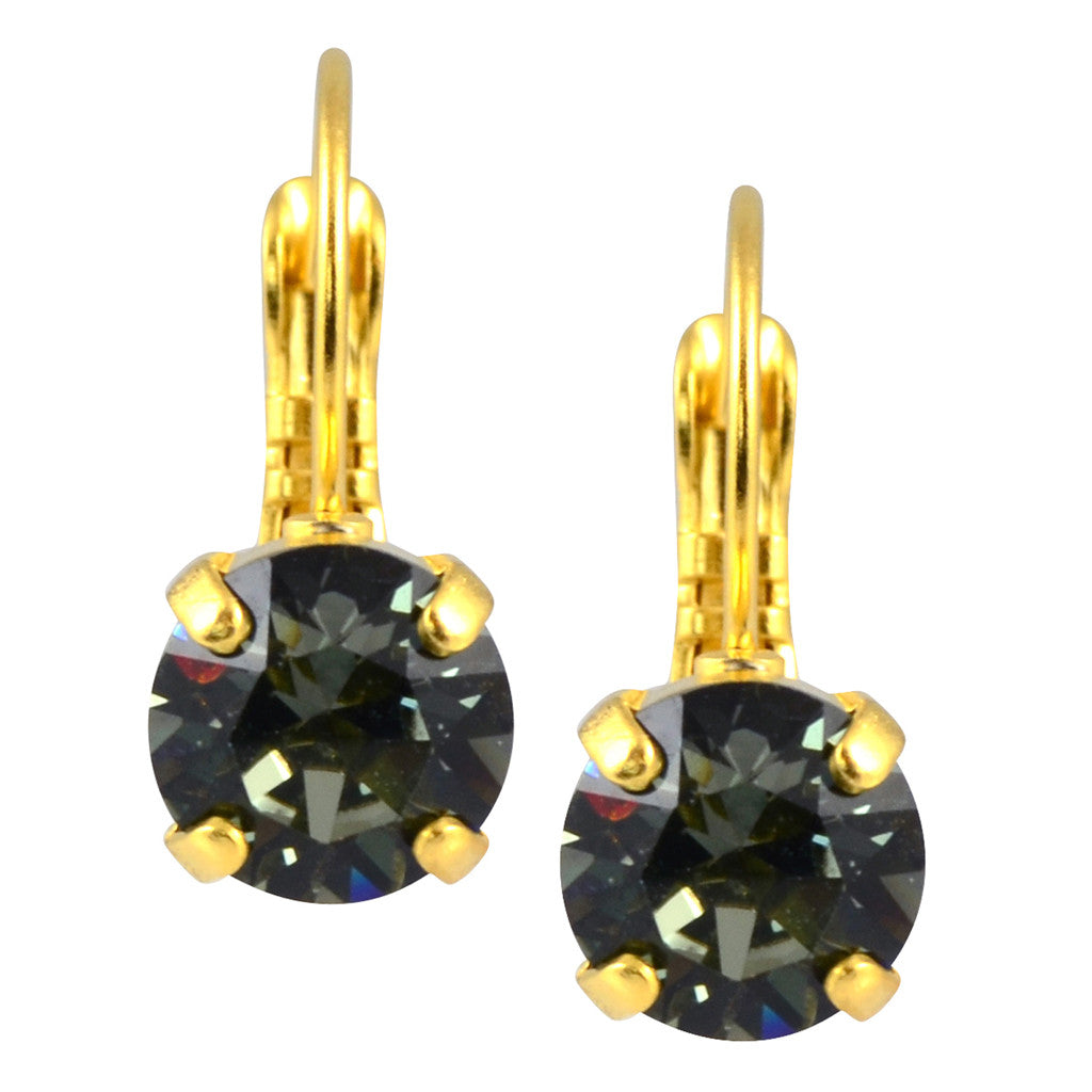Nara Round Crystal Drop Earrings, Gold Plated French Leverback with Shimmer Grey Swarovski Circle