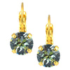 Nara Round Crystal Drop Earrings, Gold Plated French Leverback with Light Azore Swarovski Circle