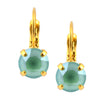 Nara Round Crystal Drop Earrings, Gold Plated French Leverback with Mint Green Swarovski Circle