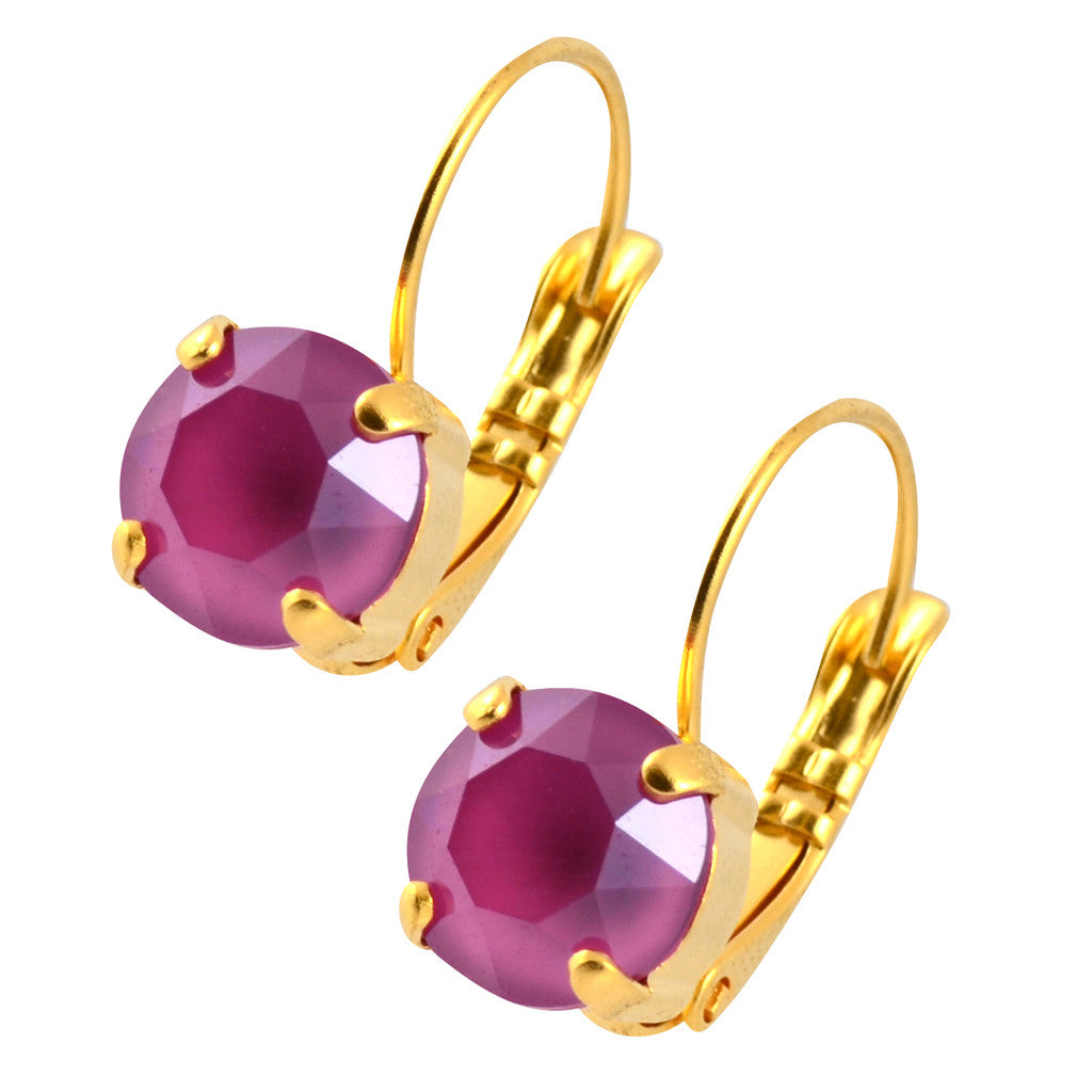 Nara Round Crystal Drop Earrings, Gold Plated French Leverback with Peony Pink Swarovski Circle