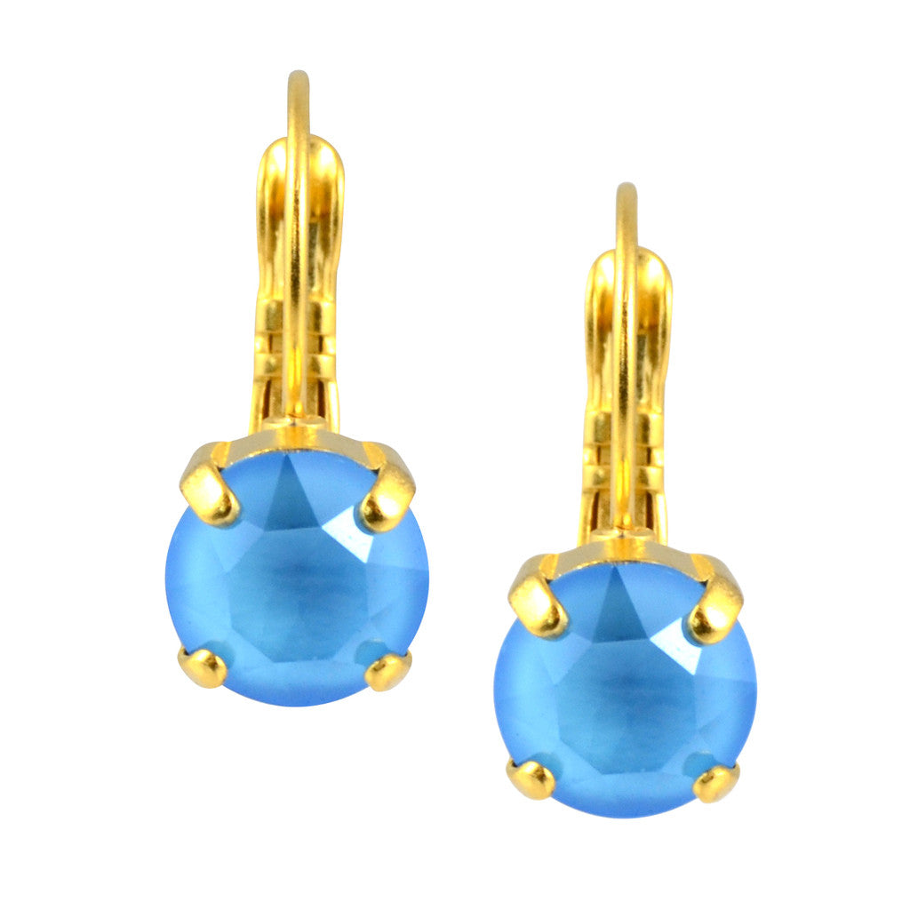 Nara Round Crystal Drop Earrings, Gold Plated French Leverback with Summer Blue Swarovski Circle