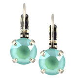 Nara Round Crystal Drop Earrings, Silver Plated French Leverback with Mint Green Swarovski Circle