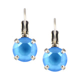 Nara Round Crystal Drop Earrings, Silver Plated French Leverback with Summer Blue Swarovski Circle