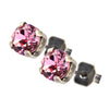 Nara Small Round Crystal Stud Earrings, Silver Plated Post with Elegant Pink Swarovski Circle
