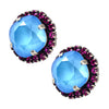 Nara Round 2 Layer Large Square Cushion Crystal Stud Earrings, Silver Plated Posts with Vivid Pink/Summer Blue Swarovski