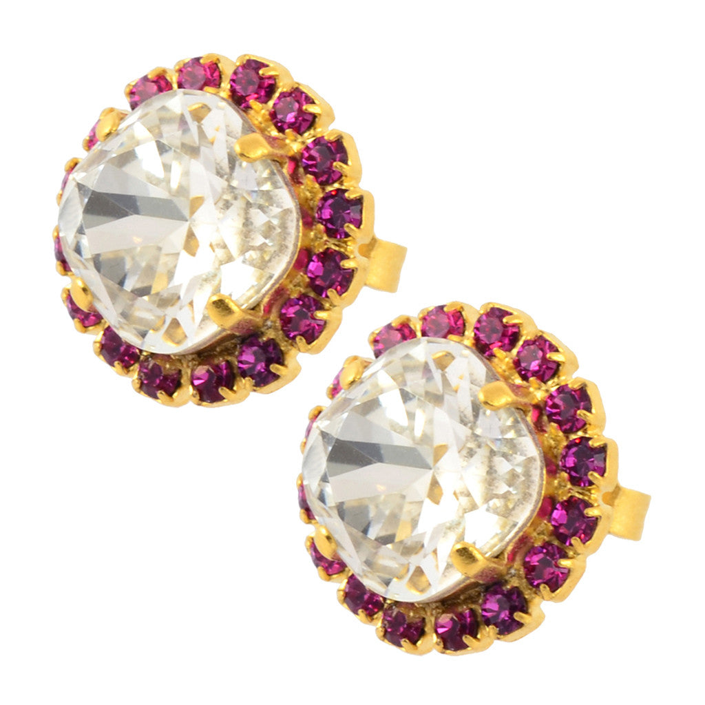 Nara Small Round 2 Layer Crystal Stud Earrings Gold Plated Posts with Crystal