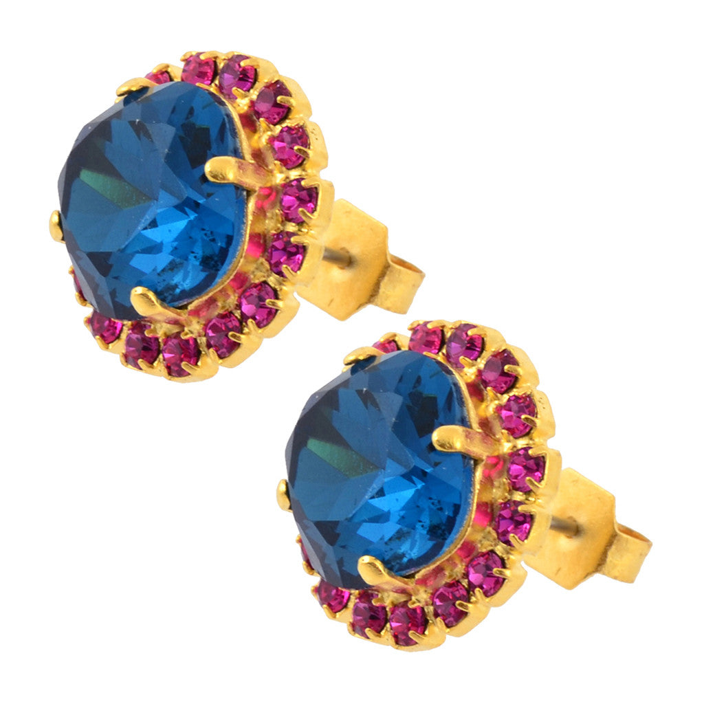 Nara Round 2 Layer Square Cushion Crystal Stud Earrings, Gold Plated Posts with Vivid Pink/Blue Swarovski
