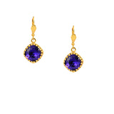 Nara Square Crown Cushion Crystal Drop Earrings, Gold Plated Leverback in Purple
