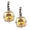 Nara Square Cushion Crystal Drop Earrings, Silver Plated Rhinestoned French Leverback with Clear and Goldenshade Swarovski
