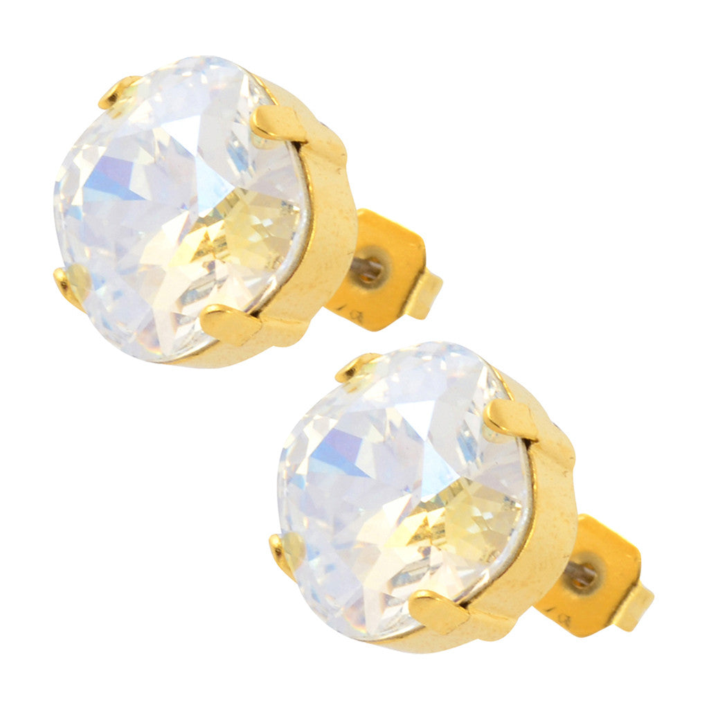 Nara Large Square Crystal Stud Earrings, Gold Plated Post with Elegant Moonlight Swarovski