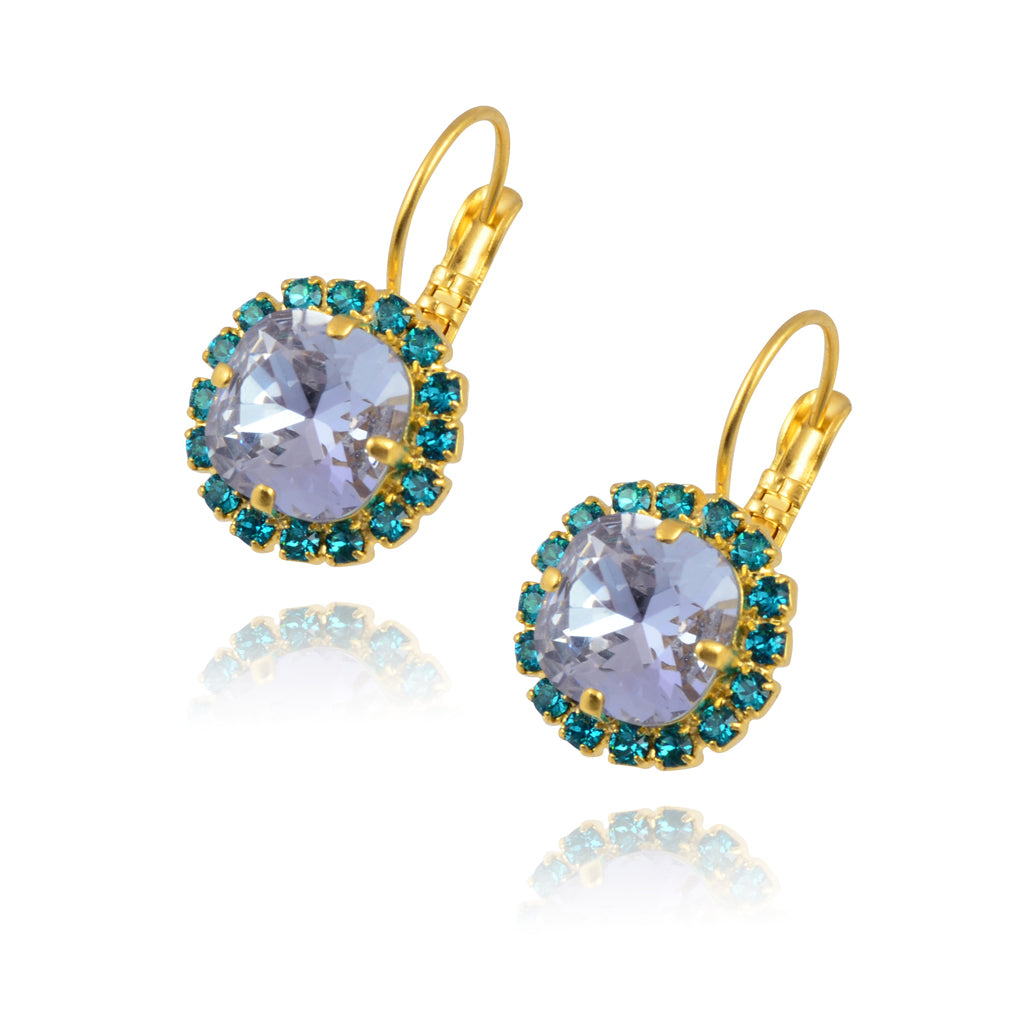 d8caa022b Nara Round 2 Layer Crystal Earrings, Silver Plated French Leverback Dr – En  Reverie