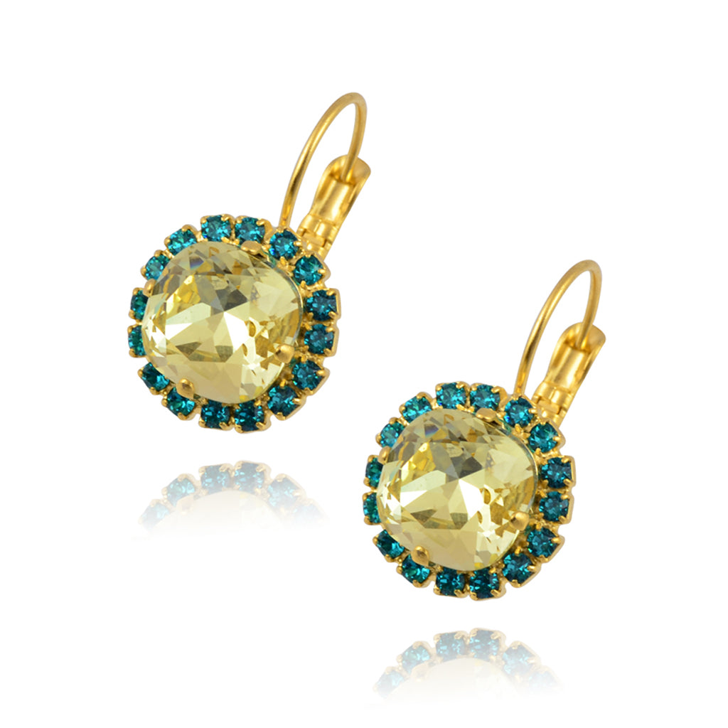 Nara Round 2 Layer Crystal Earrings, Gold Plated French Leverback Drop with Blue/Yellow Crystal