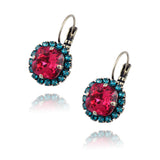Nara Round 2 Layer Crystal Earrings, Silver Plated French Leverback Drop with Blue/Pink Crystal