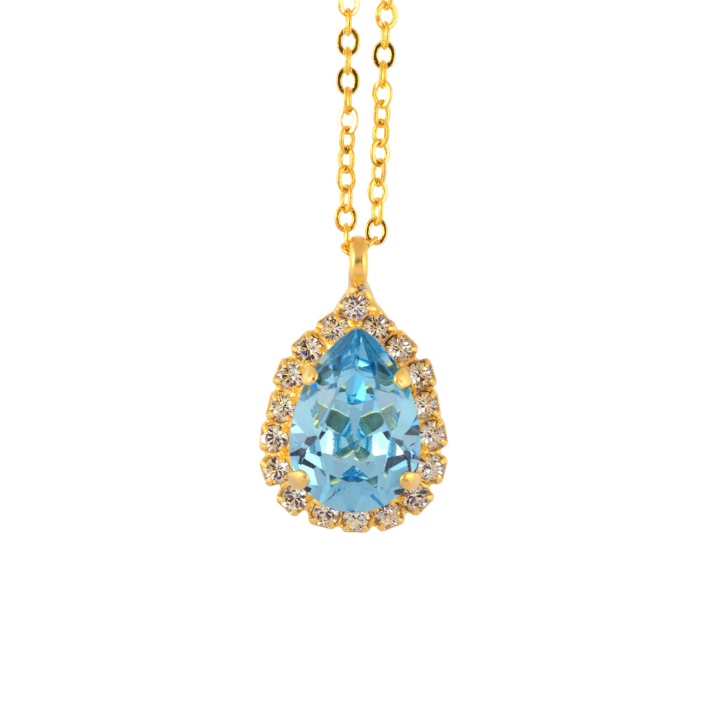 Nara Encrusted Teardrop Necklace, Gold Plated Pendant in Aqua Crystal