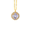 Nara Encrusted Round Necklace, Gold Plated Pendant in Light Purple Crystal